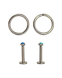 16 Gauge Blue Gem Labret Stud & Seamless Hoop Lip Ring 4 Pack