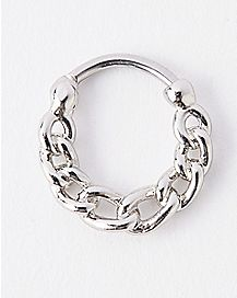 Silver Chain Clicker Septum Ring - 16 Gauge