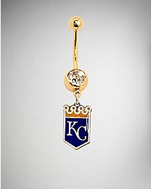 Kansas City Royals MLB Dangle Belly Ring - 14 Gauge