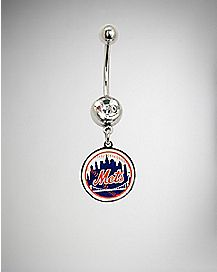 MLB New York Mets Dangle Belly Ring - 14 Gauge