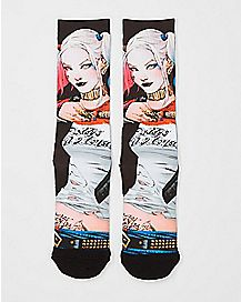 Sublimated Harley Quinn Mugshot Suicide Squad Crew Socks