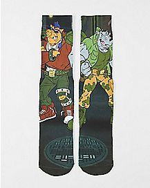 Bebop & Rocksteady TMNT Crew Socks