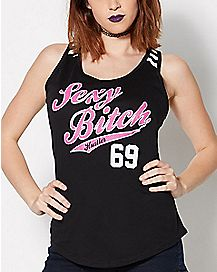 Sexy Bitch 69 Stripe Back Tank Top