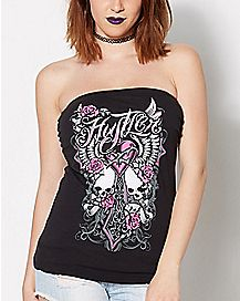 Hustler Skull Cross Laser Back Tube Top