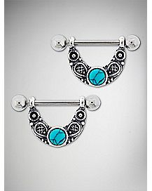 Ornate Turquoise-Effect Stone Nipple Shields - 14 Gauge