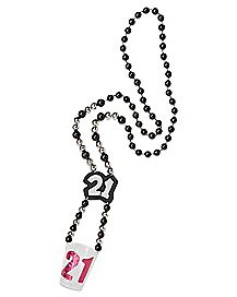 21st Birthday Beads Shot Glass Necklace