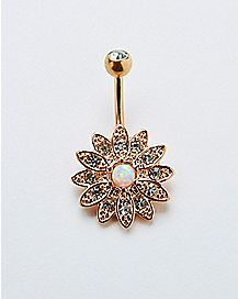 Opal-Effect Flower Belly Ring - 14 Gauge