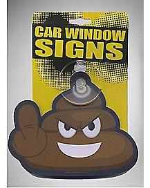 Middle Finger Poop Car Sign