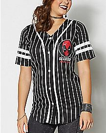 Button Down Mesh Deadpool Jersey