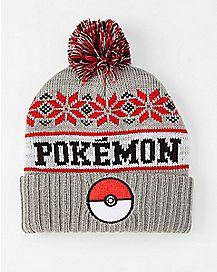 Pokeball Pokemon Pom Beanie Hat