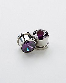 Purple CZ Stone Plug 2 Pack