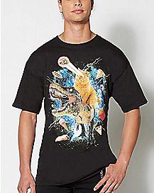 Laser Cat Dinosaur T shirt