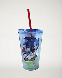 Pixilated Sonic The Hedgehog Cup With Straw and Ice Cubes -