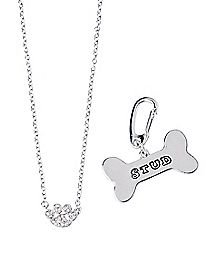 Paw Necklace and Dog Bone Stud Charm Set