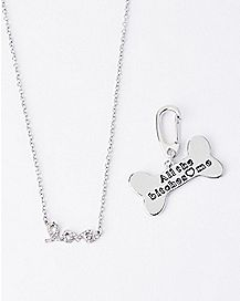 Love Necklace and Dog Bone Charm Set