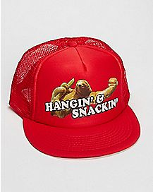 Sloth Hanging And Snacking Trucker Hat