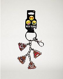 Smiley Poop Face Dangle Keychain