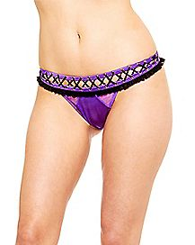 Purple Crotchless Thong Panties