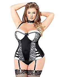 Plus Size Black and White Lace Trimmed Corset and G-String Set
