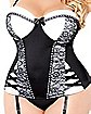 Plus Size Lace Trimmed Corset and G-String Panties Set - Black and White