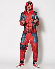 Deadpool Adult Hooded One-Piece Pajamas - Marvel Comics