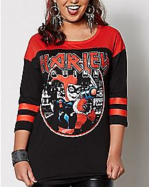 Harley Quinn Raglan T Shirt - DC Comics