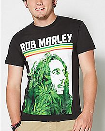 Striped Pot Leaf Bob Marley T shirt