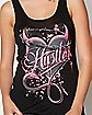 Slit Lace Back Heart Hustler Tank Top