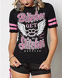Bitches Get Stitches Hockey T Shirt - Hustler