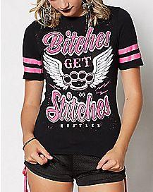 Bitches Get Stitches Hockey T Shirt - Hustler