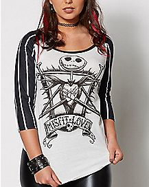 Jack Skellington The Nightmare Before Christmas Raglan T Shirt
