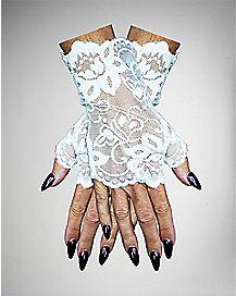 White Lace Fingerless Gloves