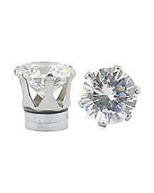 CZ Clear Round Magnetic Fake Stud Earrings- 8 MM