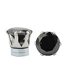 Black CZ Round Magnetic Fake Stud Earrings- 8 MM