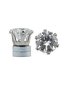 CZ Hexagon Magnetic Fake Stud Earrings - 8 MM