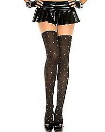 Polka Dot Faux Thigh High Tights