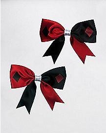 Red and Black Jester Hair Bows
