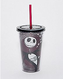 Hearts Jack Nightmare Before Christmas Cup With Straw- 16 Oz
