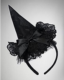 Black Lace Witch Hat Headband