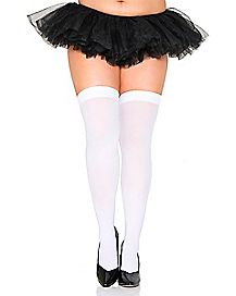 Plus Size White Thigh Highs