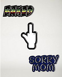 Sorry Mom, Baked, Middle Finger Pin Set