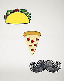Taco, Pizza, Mustache Pin Set