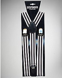 Black and White Striped Suspenders