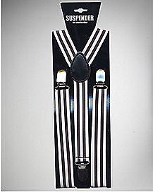 Black and White Striped Suspenders