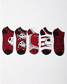 Nightmare Before Christmas No Show Socks- 5 Pair
