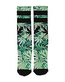 Pot Leaf Crew Socks