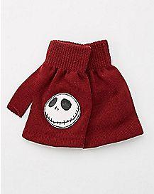 Jack Nightmare Before Christmas Fingerless Gloves- Maroon