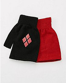 Red and Black Fingerless Harley Quinn Gloves