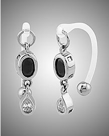14 Gauge Cz Black Oval Clear Tear Drop Clit Ring