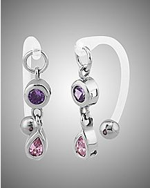 14 Gauge Cz Purple Oval Pink Teardrop Clit Ring